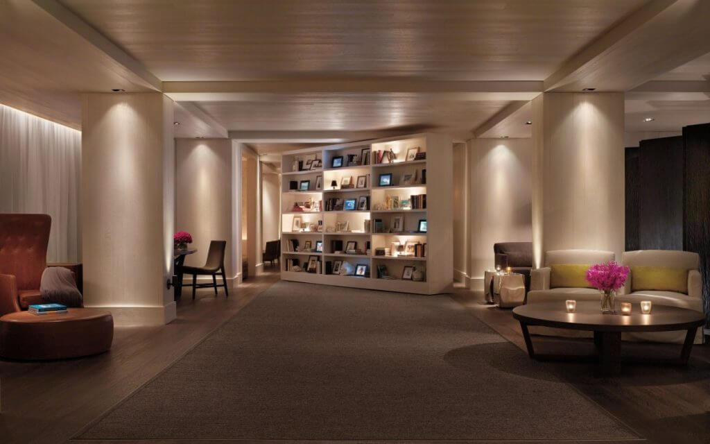 Check out that awesome lobby. That bookcase opens and closes too!