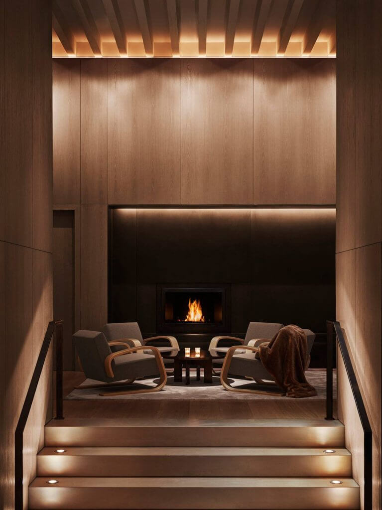 The beckoning lobby, fireplace, fur, and all